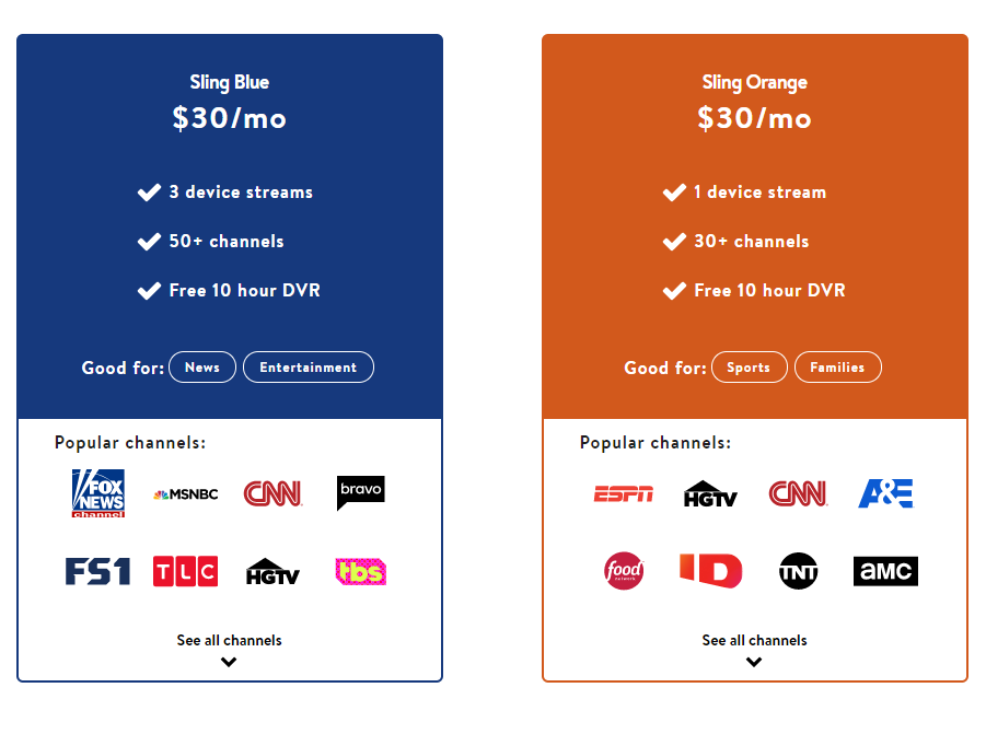 Sling TV plans and pricing