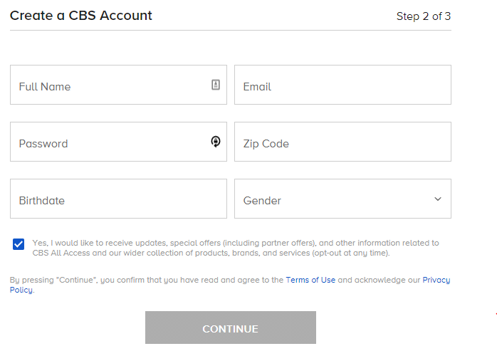 Create a CBS Account